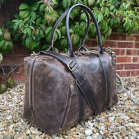 Large Vintage Leather Holdall, Travel Bag, Weekend Bag