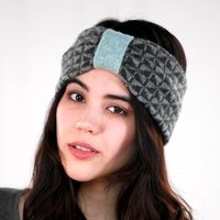 Knitted Lambswool Chequer Headband, Rose/Green/Russet