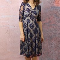 Party Dress With V Neckline In French Navy Lace