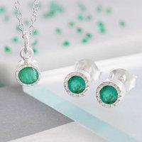 Fine Emerald Birthstone Silver Jewellery Set, Silver