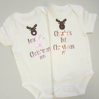 Baby's 1st Christmas Vest/Bodysuit, Red/Pink