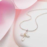 Girls Cherish Pearl Cross Christening Necklace