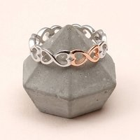 Sterling Silver And Rose Gold Infinity Heart Ring, Silver