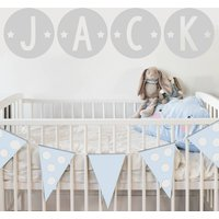Circle Star Name Fabric Wall Stickers
