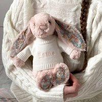 Personalised Blossom Blush Pink Bunny Soft Toy