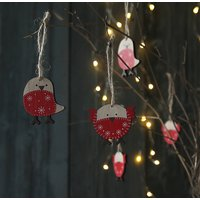 Wooden Robin Hanging Decoration Set Of Eight