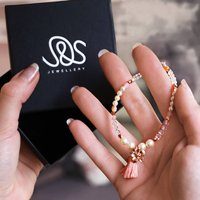 Handmade Rose Gold Charm Bracelet, Gold