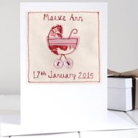 Personalised New Baby Girl Card, Pink