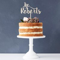 Romantic Personalised Surname Wooden Cake Topper