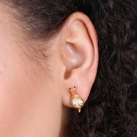Gold Snail Stud Earrings, Gold