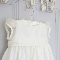 Coco Silk And Lace Personalised Christening Gown, Ivory/Pink