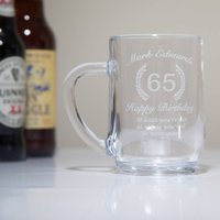 Engraved 65th Birthday Glass Tankard In Box