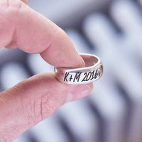 Chunky Silver Personalised Silver Ring, Silver