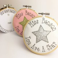 Personalised Embroidered Star Teacher Hoop Card