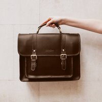 Personalised 15 Inch Leather Laptop Classic Satchel Bag