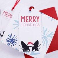 Santa Hat Cat Christmas Gift Tag