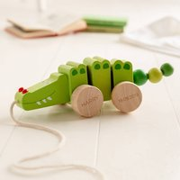 Personalised Christening Pull Along Wooden Crocodile