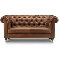 Chesterfield Leather Or Tweed Sofa Two Or Three Seater, Brown/Grey/Black