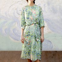 Dolce Knot Dress In Painters Garden Crepe