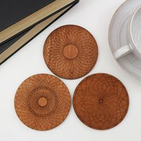 Wooden Coasters With Spirograph Design, Set Of Four