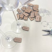 Personalised Five Name Tag Wine Glass Charms