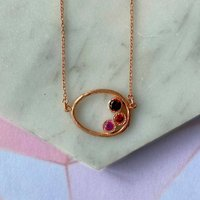 Rose Gold Oval Garnet And Ruby Necklace, Gold