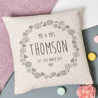 'Hearts And Flowers' Mr And Mrs Wedding Cushion