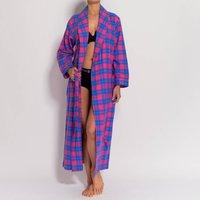 Womens Pink Tartan Two Fold Flannel Robe