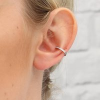 Sterling Silver And Crystal Conch Ear Cuffs, Silver