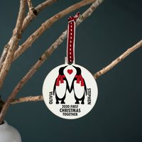 Personalised 'Our First Christmas' Penguin Bauble