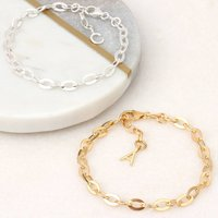 Personalised 18ct Gold Or Silver Flat Link Bracelet, Silver