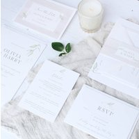 Elegance Wedding Invitation Greenery Leaf Sample