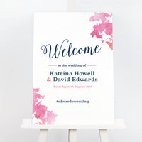 Pink And Navy Blossom Wedding Welcome Sign