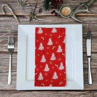 Red Christmas Tree Fabric Napkins
