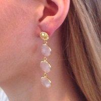 Rose Quartz Three Circular Drop Earrings