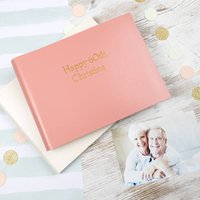 Happy 60th Birthday Leather Photo Album, Grey/Peach/Ivory