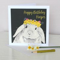 Spring Bunny Birthday Card, Grey/Mauve
