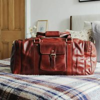 Tan Leather Travel Holdall Bag