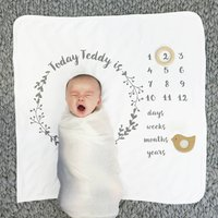 Personalised Baby Age Botanical Blanket Set, Grey/White