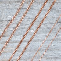 Solid 9ct Rose Gold Chain Trace Belcher Curb, Gold
