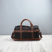 Large Canvas Leather Holdall Duffle