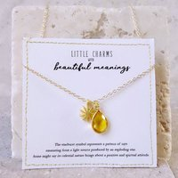 Personalised Gold Starburst Charm Birthstone Necklace, Gold