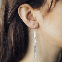 Silver Feather Statement Drop Earrings, Silver