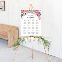 Peony Wedding Seating Plan In White