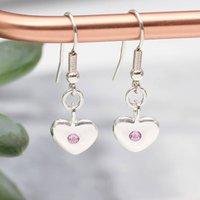 Sterling Silver Birthstone Hook Earrings, Silver