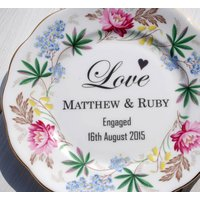 Personalised 'Love' Engagement Vintage China Plate