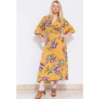 Flora Kimono Dress Mustard