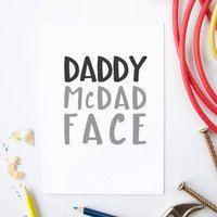 Daddy Mc Dad Face Card, White/Pale Blue/Blue
