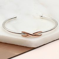 Sterling Silver And 18ct Rose Gold Infinity Bangle, Silver