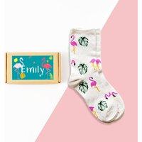 Personalised Flamingo Sock Box